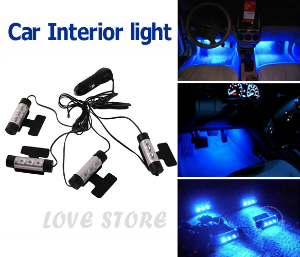 oz bright car interior blue neons led lights glow lamp charger ebay. Black Bedroom Furniture Sets. Home Design Ideas